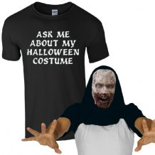 Ask Me About My Halloween Costume Freaky Zombie T-Shirt Scary Face Mens Flip Top